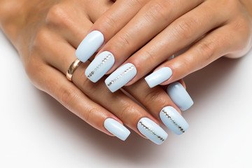 summer blue, heavenly nails with crystals on long square nails