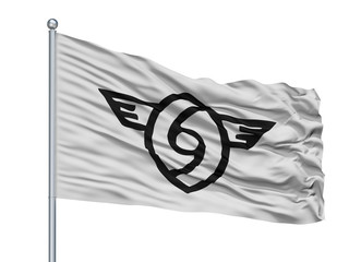 Yame City Flag On Flagpole, Country Japan, Fukuoka Prefecture, Isolated On White Background