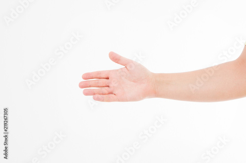 greeting hand caucasian arm mock up copy space template blank