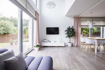 Spacious living room interior with a cropped sofa, tv, cabinet, window, plant and dining table with chairs. Real photo