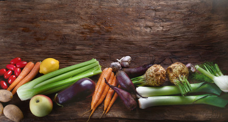 Wall Mural - Assortment of fresh local vegetables