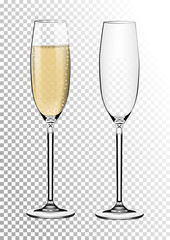 Set transparent vector champagne glasses empty, with sparkling wine. Vector illustration in photorealistic style.