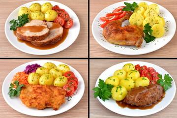 zestaw różnych obiadów