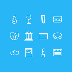 Vector illustration of 12 lifestyle icons line style. Editable set of lipstick, heart, burger and other icon elements.