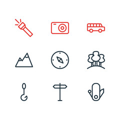 Vector illustration of 9 camping icons line style. Editable set of mountain, forest, flash and other icon elements.