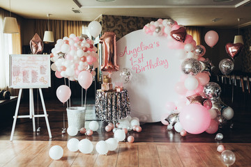 photo of a birthday party with cake and balls Wall mural
