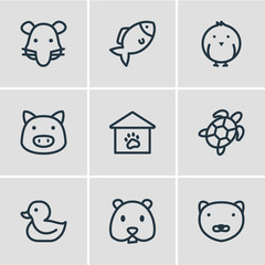 Vector illustration of 9 animal icons line style. Editable set of duck, bird, rat and other icon elements.