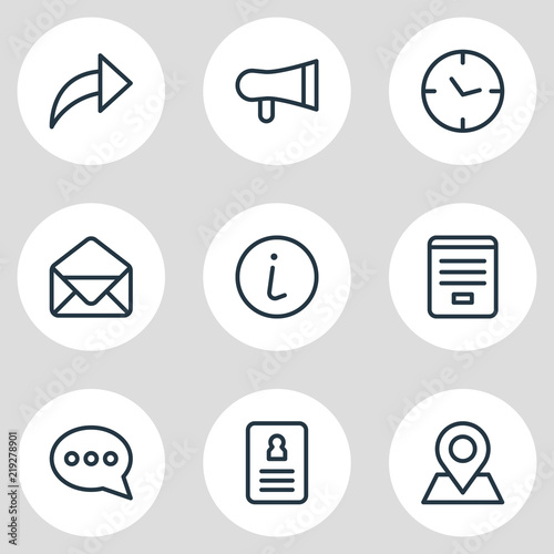 Vector illustration of 9 connect icons line style  Editable set of