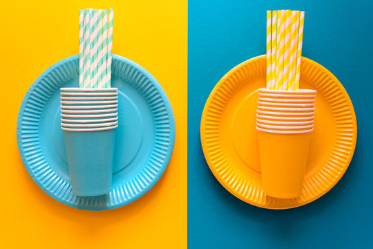 Table setting with paper ware for summer picnic or BBQ. Top view. Flat lay.