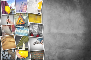 Construction photo collage over cement concrete wall texture with copy space