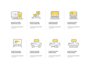 Set of Thin Line Icons for Business, Marketing and Advertising.