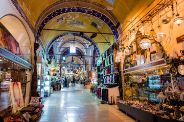 ISTANBUL, TURKEY - JULY 10, 2017: Grand Bazaar  in Istanbul, Turkey. It is one of the largest and oldest covered markets in the world Wall mural