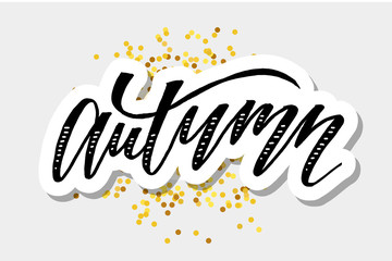 Autumn lettering Calligraphy Brush Text Holiday Vector Sticker Gold