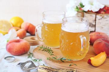 Papiers peints Biere, Cidre Light fruit craft beer and fruits