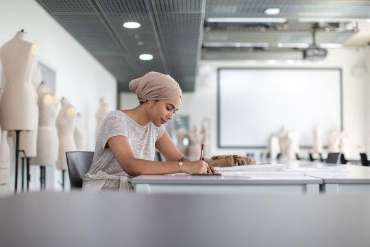 Muslim female student fashion designer