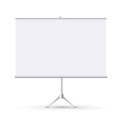 Vector realistic blank flipchart isolated on white clean background. White horizontal roll up banner for presentation, corporate training and briefing. Vector mockup.