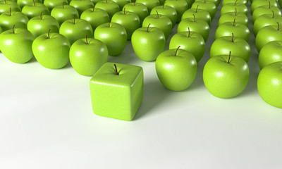Wall Mural - 3D Äpfel in Reihe - Ecken und Kanten zeigen