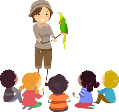 Stickman Kids Zookeeper Demonstration Illustration