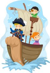 Deurstickers Piraten Stickman Kids Explore Captain Ship Illustration