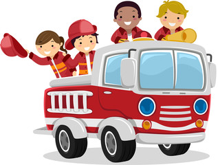 Stickman Kids Fire Truck Illustration