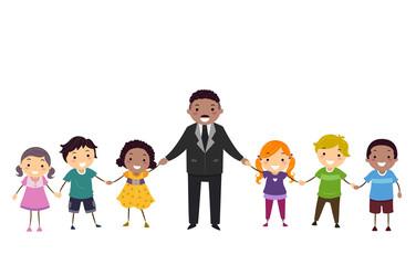 Stickman Kids Martin Luther King Hands