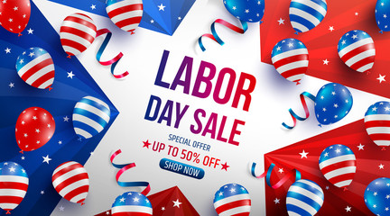 Labor Day Sale poster template.USA labor day celebration with American balloons flag,star and tools.Sale promotion advertising banner template for USA Labor Day Brochures,Poster or Banner