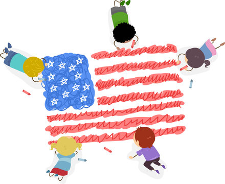 Stickman Kids Draw Flag American Illustration