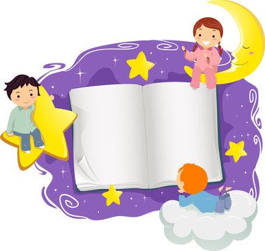Stickman Kids Open Book Bed Time Illustration
