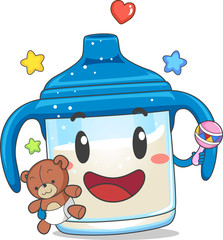 Toddler Sippy Cup Mascot Illustration