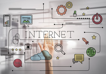 Concept of electronic business and internet education and modern