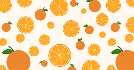 Seamless pattern mixed orange fruit background - vector illustration