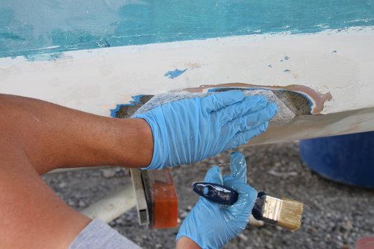 Polyester boat repair