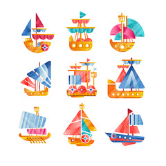 Different vessels set, smal colorful ships flat vector Illustrations on a white background