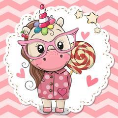 Cute Unicorn in pink eyeglasses