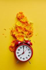 Red Vintage Alarm Clock And Marigold Blossom