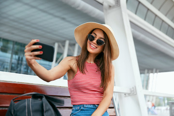 Woman Making Photos On Phone Outdoors, Traveling In Summer