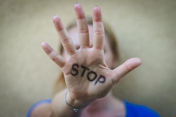 Woman gesturing stop