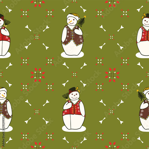 Christmas Embroidery Snowman Friends Seamless Vector Pattern Hand