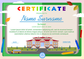 Children's certificate on the background of an open book, a school building, a bus, school supplies
