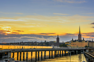 Wall Mural - View of Stockholm city during sunset time, Sweden.