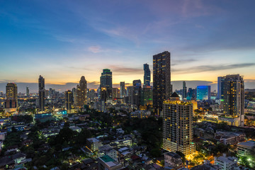 beautiful sunset cityscape of Bangkok city downtown at night  , landscape Thailand