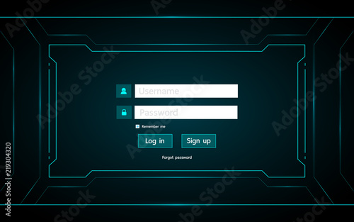 Log in page ui design on technology futuristic interface hud