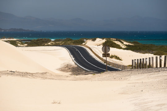 Road and ocean on Canary islands