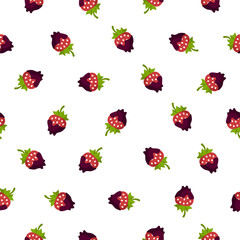 Seamless pattern. Strawberry in chocolate