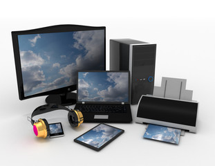 Computer devices and office equipment. 3d rendered illustration