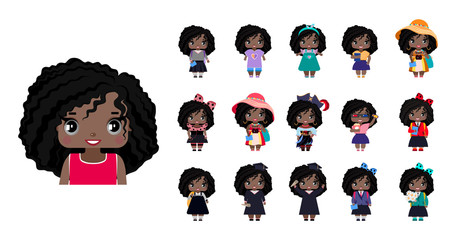 Vector cute little African American girls, with wavy black hair and gray eyes. set with variants of different outfits