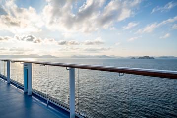 Keuken foto achterwand Oceanië Balcony and railing of cruise ship. Seascape on background.