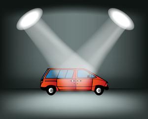Lighting stage, podium, auto show. Automobile Exhibition. Red car. Vector illustration
