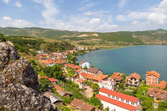 Panorama of the fishing and leisure village of Lin, Albania.