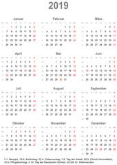 Einfacher Kalender 2019 mit gesetzlichen Feiertagen für Deutschland